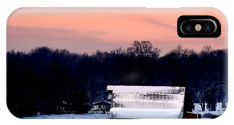 Red Barn IPhone X Case featuring the photograph Winter Morn by Diane Merkle