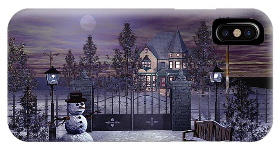 Winter IPhone X Case featuring the digital art Winter Night Scene by John Junek