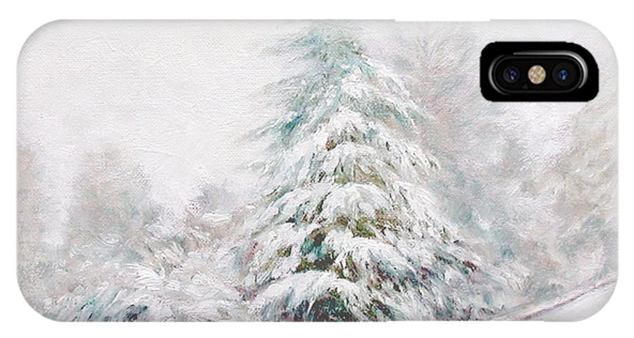 Winter Landscape IPhone X Case featuring the painting Winter Of 04 by Jim Gola
