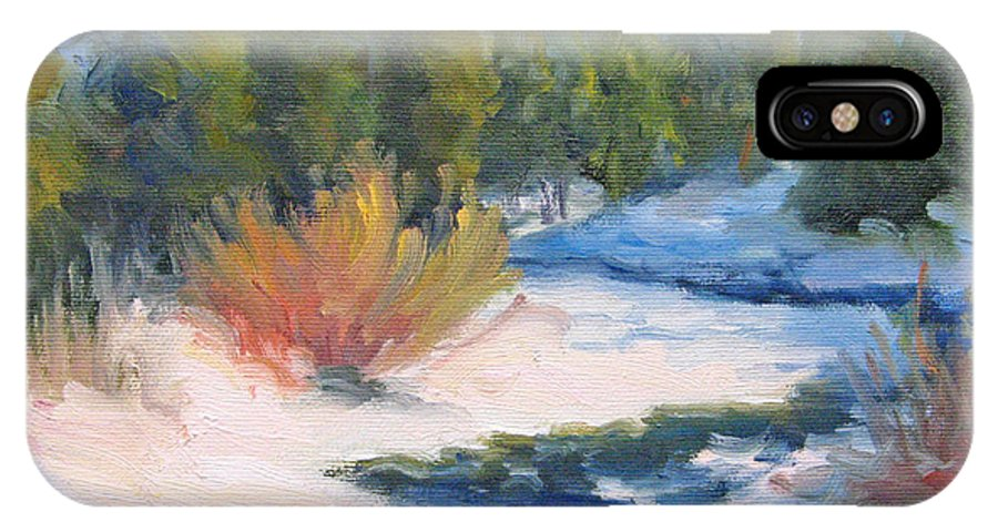 Landscape IPhone X Case featuring the painting Winter On Gore Creek by Bunny Oliver