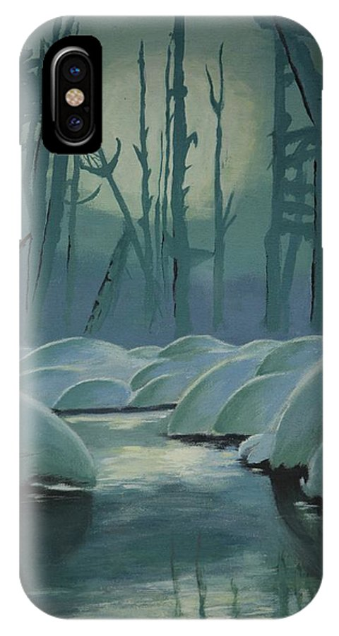 River IPhone X Case featuring the painting Winter Quiet by Jacqueline Athmann