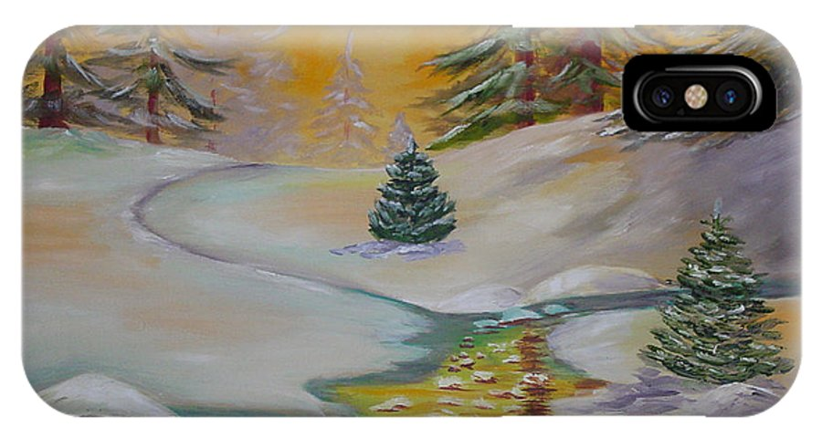 Winter IPhone Case featuring the painting Winter by Quwatha Valentine