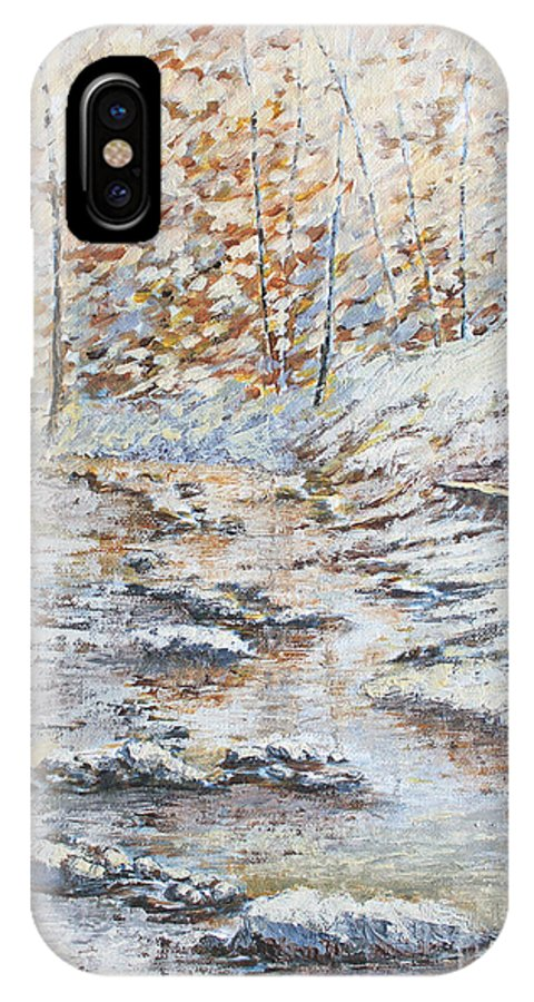 Landscape IPhone X Case featuring the painting Winter River by Todd Blanchard