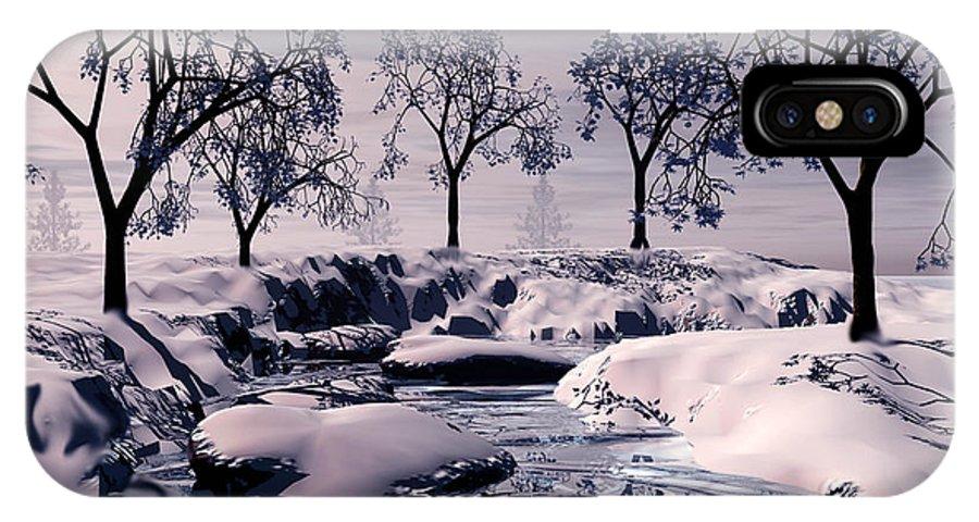 Winter IPhone X Case featuring the digital art Winter Scene by John Junek