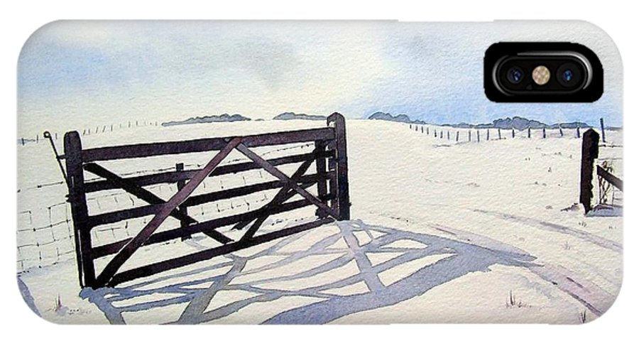 Landscape IPhone X Case featuring the painting Winter Scene With Gate by Paul Dene Marlor