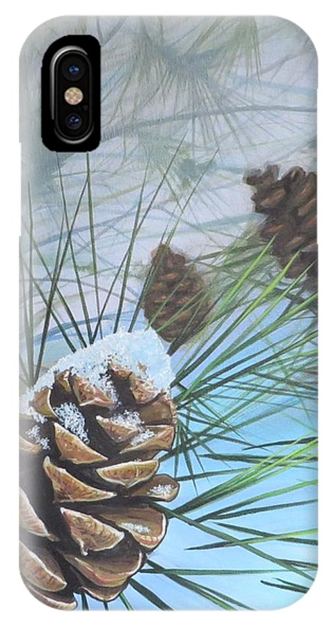 Pinecone IPhone X Case featuring the painting Winter Silence by Hunter Jay