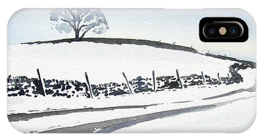 Snowscene In The Yorkshire Dales IPhone X Case featuring the painting Winter Snow in the Dales by Paul Dene Marlor