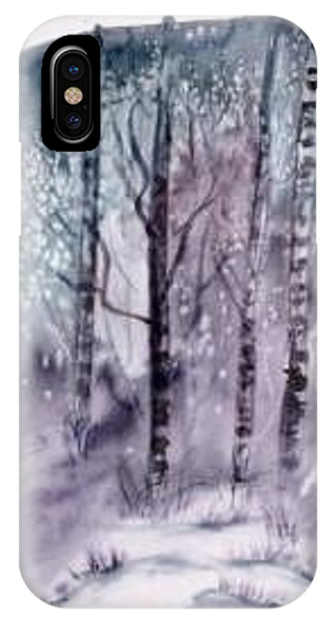 Watercolor Landscape Painting IPhone X Case featuring the painting Winter Snow Landscape Painting Print by Derek Mccrea