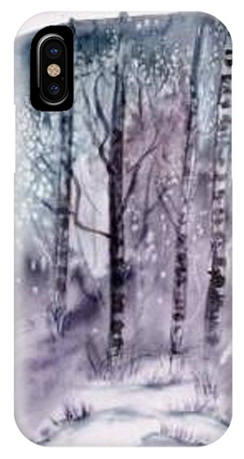 Watercolor Landscape Painting IPhone X Case featuring the painting WINTER snow landscape painting print by Derek Mccrea