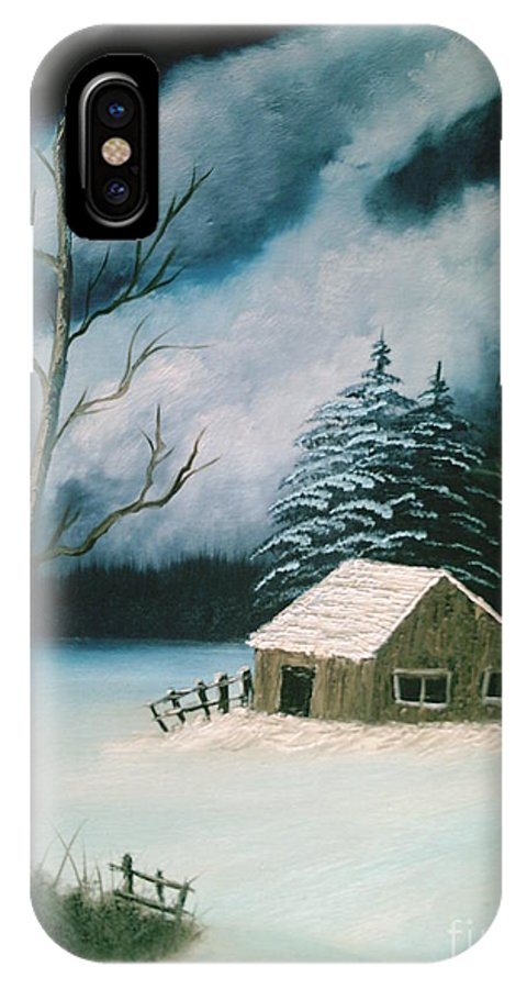 Winter Landscape IPhone X Case featuring the painting Winter Solitude by Jim Saltis
