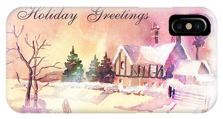 Winter IPhone X Case featuring the painting Winter Stroll Card by Arline Wagner