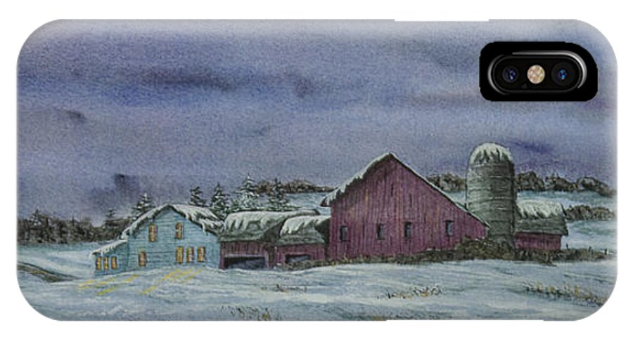 Barn IPhone X / XS Case featuring the painting Winter Sunset by Charlotte Blanchard