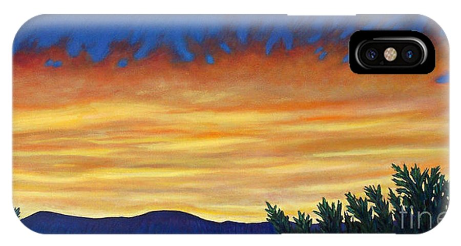 Sunset IPhone X / XS Case featuring the painting Winter Sunset In El Dorado by Brian Commerford
