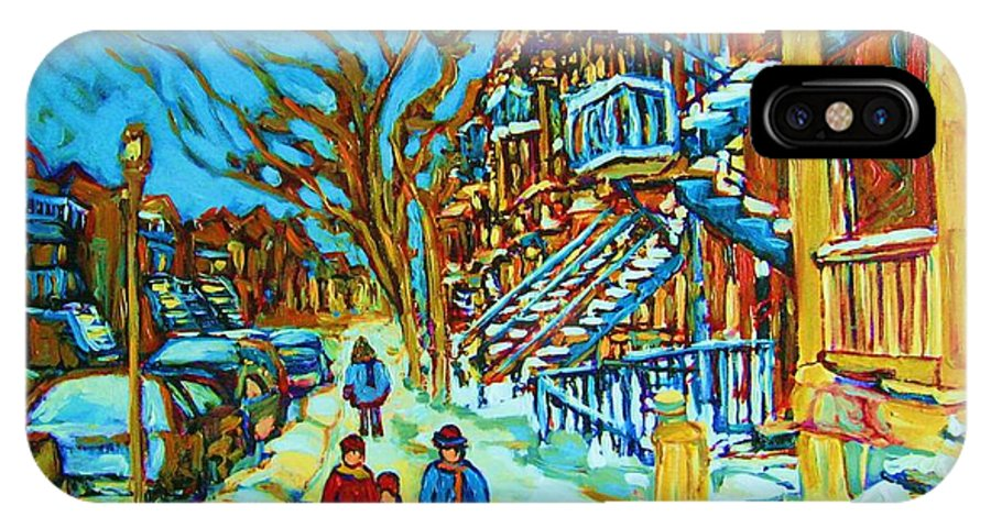 Winterscenes IPhone Case featuring the painting Winter Walk In The City by Carole Spandau