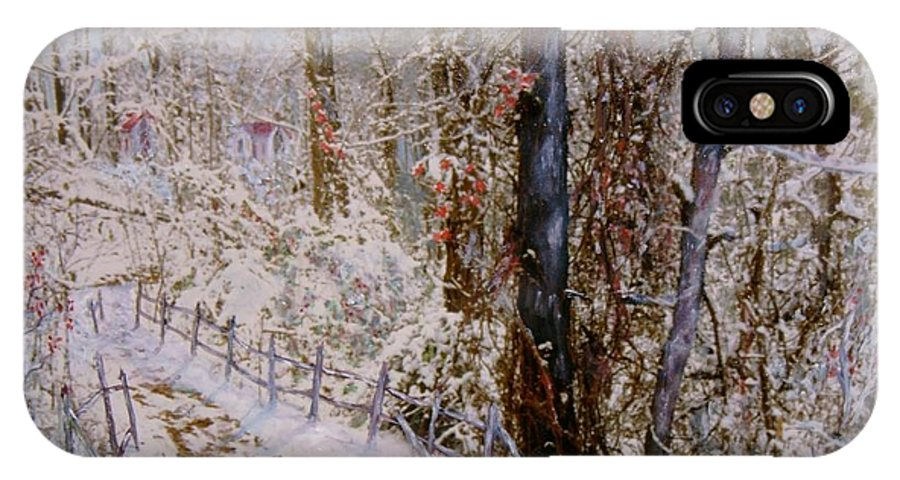 Snow; Trees IPhone X Case featuring the painting Winter Wonderland by Ben Kiger