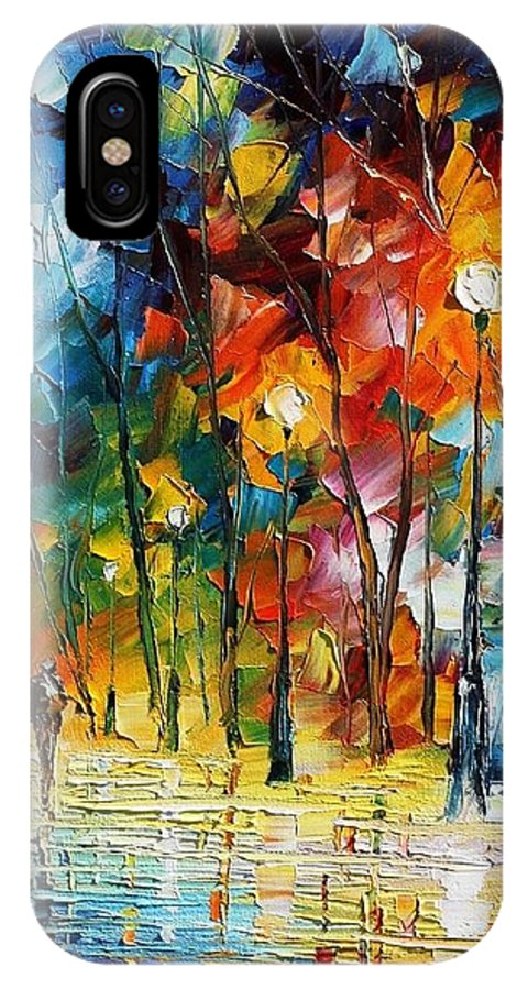 Afremov IPhone X Case featuring the painting Winter's Chill Wind by Leonid Afremov