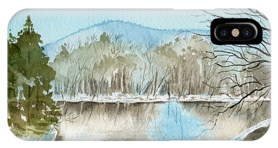 Landscape IPhone X Case featuring the painting Winter's Daylight Chill by Brenda Owen