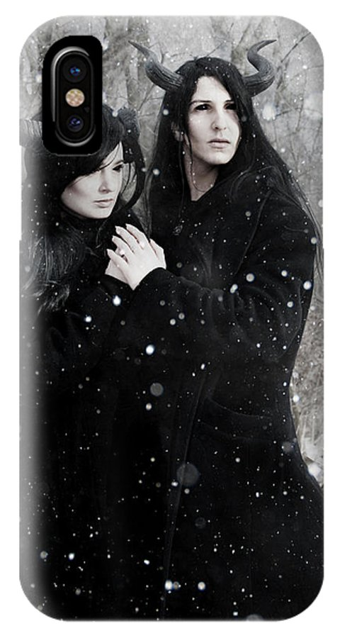Demon IPhone X / XS Case featuring the photograph Wintry Wind by Cambion Art