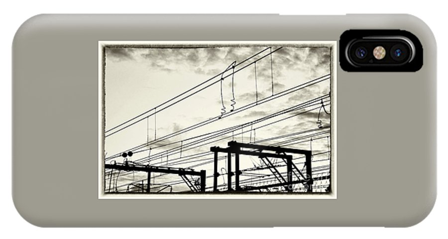 Photography IPhone X Case featuring the photograph Wires And Coils Silhouette by Kaye Menner