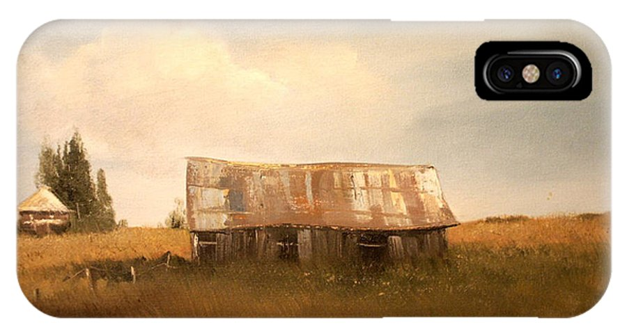 Barns IPhone X Case featuring the painting Wisconsin Memories by Sally Seago
