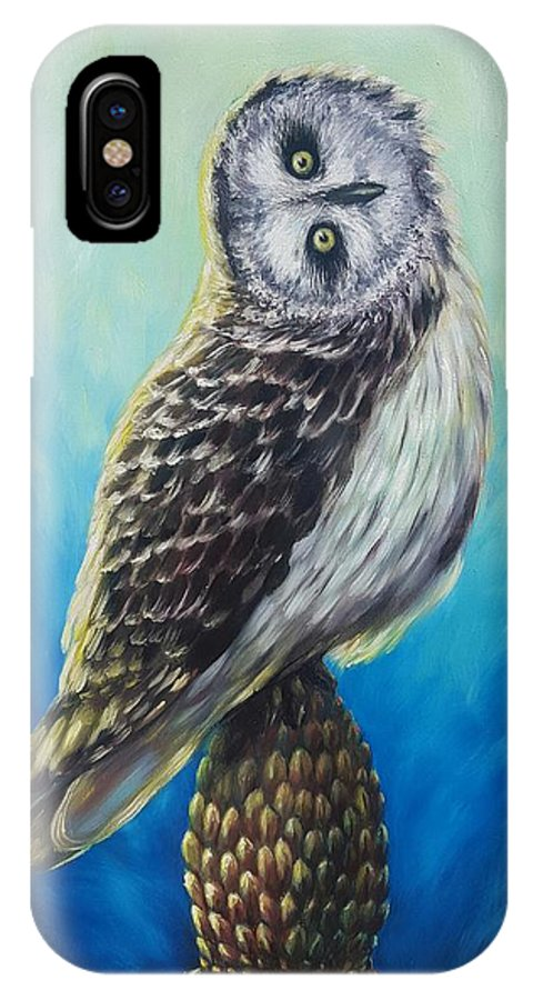 Animal IPhone X Case featuring the painting Wisdom by Alexandru Burca