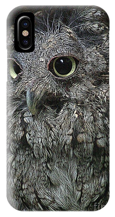 Bird IPhone X Case featuring the digital art Wisdom by Mark Kryzaniak