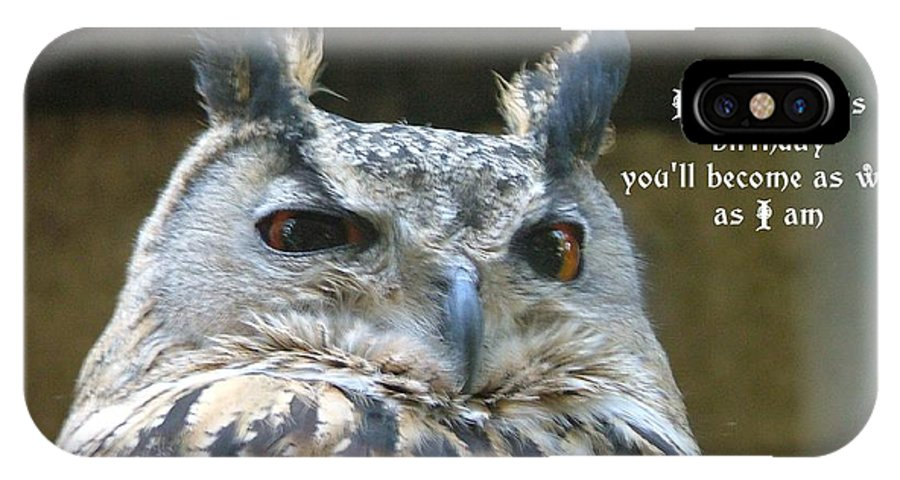 Owl IPhone X Case featuring the photograph Wise Owl by Fun Cards