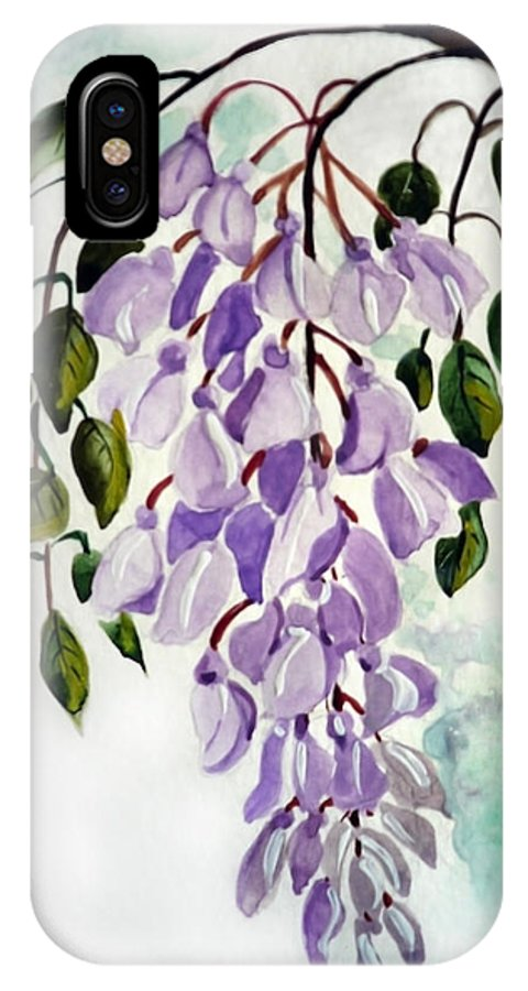 Floral Paintings Flower Paintings Wisteria Paintings Botanical Paintings Flower Purple Paintings Greeting Card Paintings  IPhone Case featuring the painting Wisteria by Karin Dawn Kelshall- Best