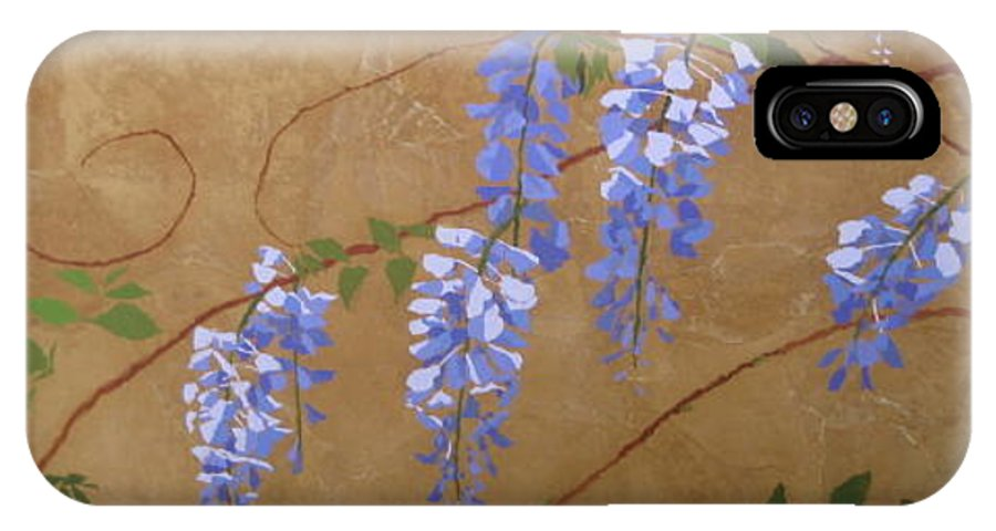 Periwinkle Wisteria Flowers IPhone X Case featuring the painting Wisteria by Leah Tomaino