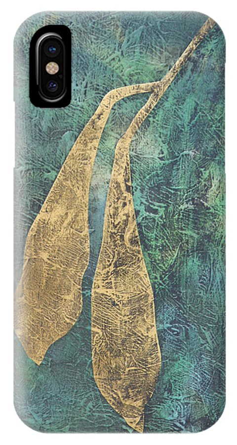 Flower IPhone X Case featuring the drawing Wisteria Seed Pods by Diana Davenport