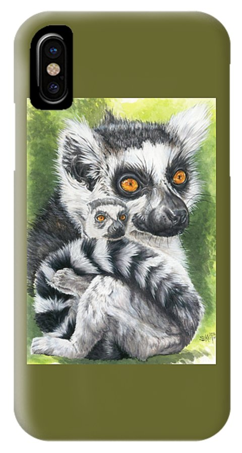 Lemur IPhone X Case featuring the mixed media Wistful by Barbara Keith