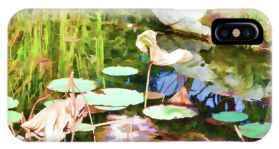 Pond IPhone X Case featuring the painting Withered Lotus In The Pond 2 by Jeelan Clark