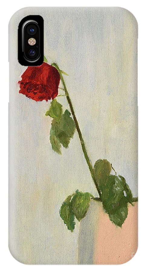 Rose IPhone X Case featuring the painting Withering Rose by Oleg Konin