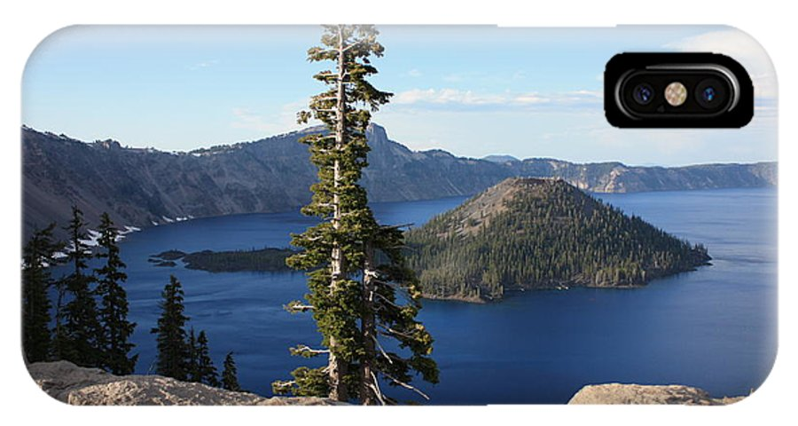 Wizard Island IPhone X Case featuring the photograph Wizard Island With Rock Fence At Crater Lake by Carol Groenen