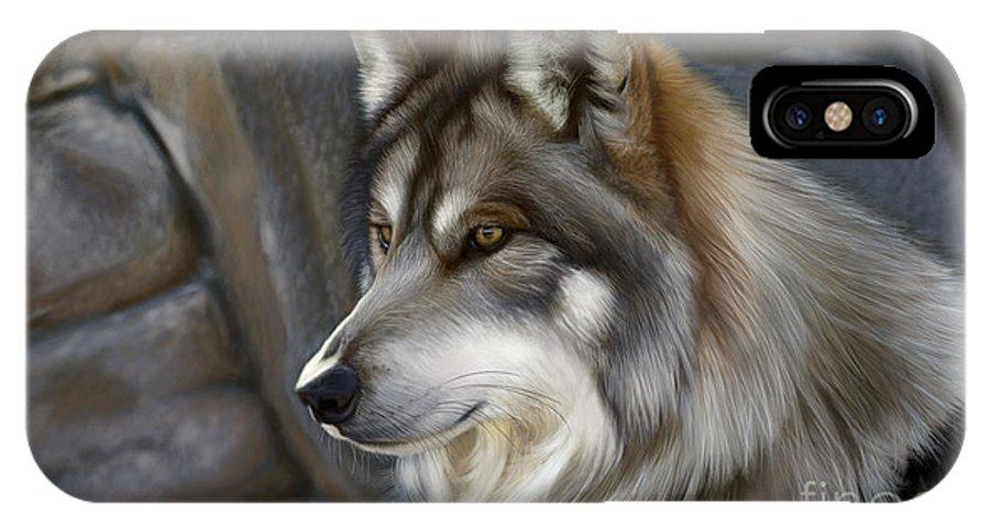 Wolf IPhone X Case featuring the digital art Wolf by Gretchen Bartz