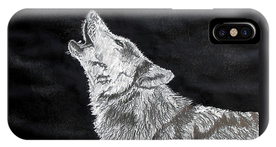 Pencil IPhone X Case featuring the drawing Wolf Howl by Stan Hamilton