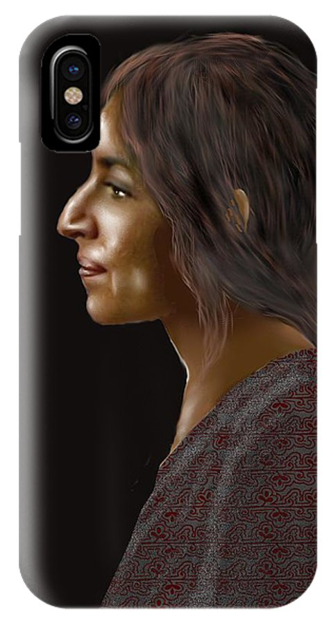 Female IPhone X Case featuring the digital art Woman 20 by Kerry Beverly