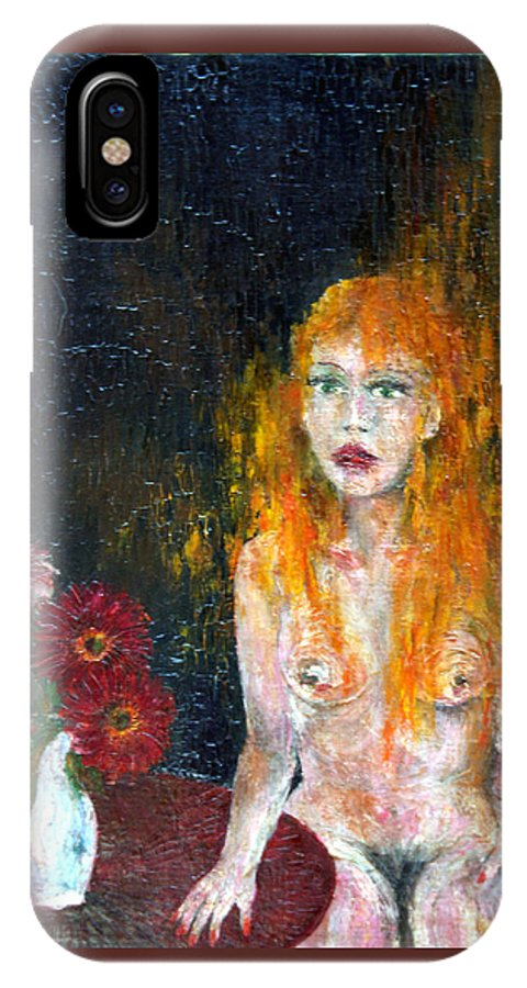 Imagination IPhone X Case featuring the painting Woman And Flowers by Wojtek Kowalski