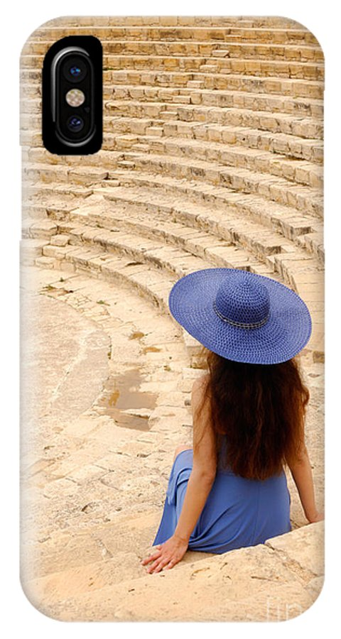 Cyprus IPhone X Case featuring the photograph Woman At Greco-roman Theatre At Kourion Archaeological Site In C by Oleksiy Maksymenko