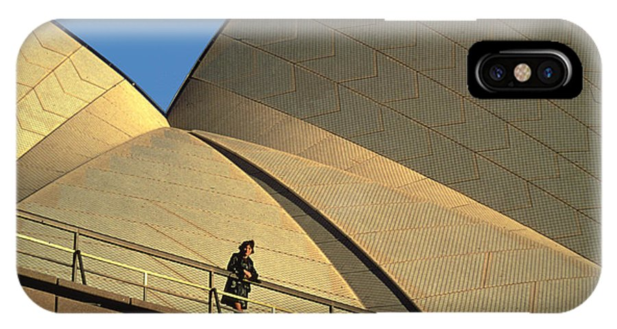 Unique IPhone X Case featuring the photograph Woman At Sydney Opera House by Carl Purcell