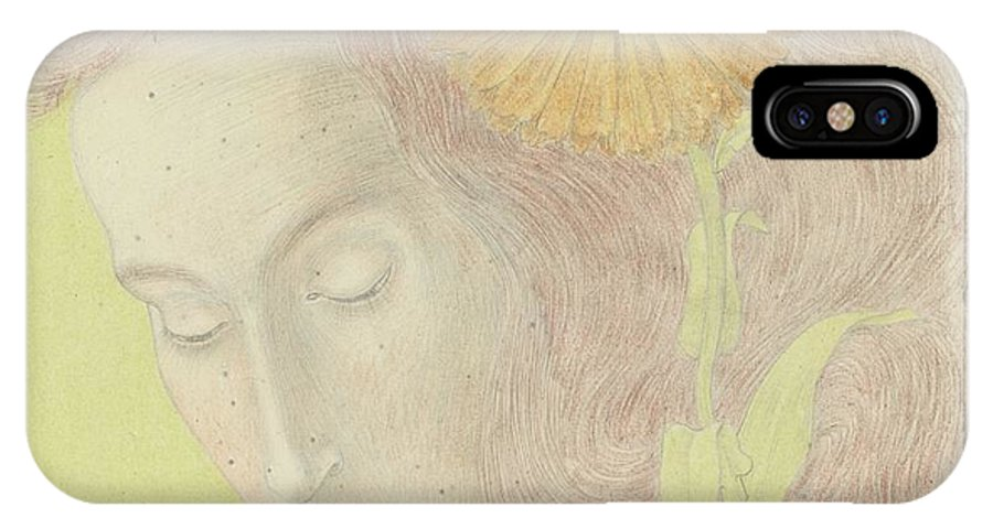 Woman's Head With Reddish Hair And Chrysanthemum IPhone X Case featuring the painting Woman Head by MotionAge Designs