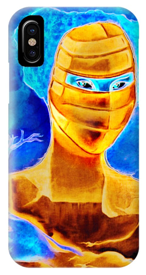 Blue Woman Mask Mistery Eyes IPhone X Case featuring the painting Woman In The Blue Mask by Veronica Jackson