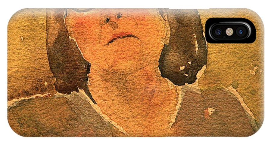 Walt Maes IPhone X Case featuring the painting Woman Lost In Thought by Walt Maes