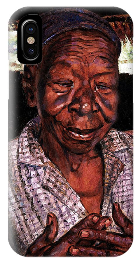 Black Woman IPhone X Case featuring the painting Woman Of Faith by John Lautermilch