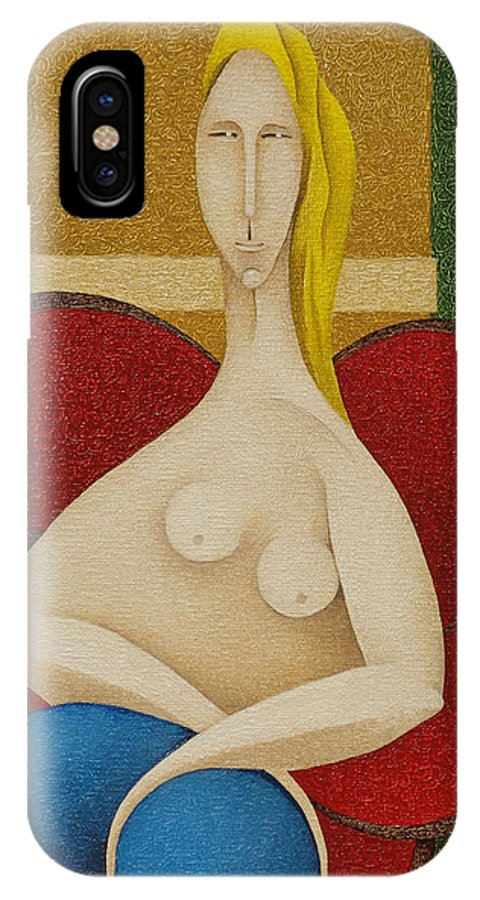 Sacha IPhone X Case featuring the painting Woman On Red Chair  2008 by S A C H A - Circulism Technique