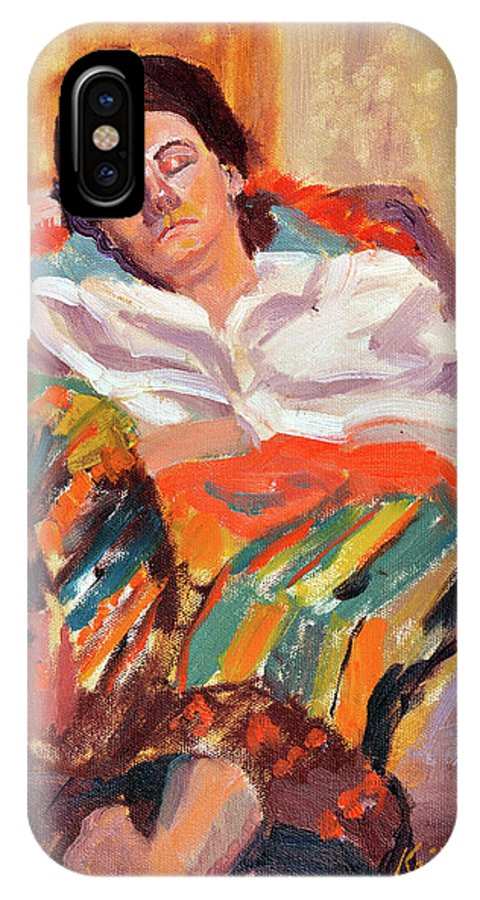 Portrait IPhone X Case featuring the painting Woman Sleeping by Keith Burgess