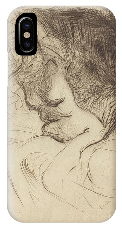IPhone X Case featuring the drawing Woman Taking Off Her Chemise by Jean-louis Forain