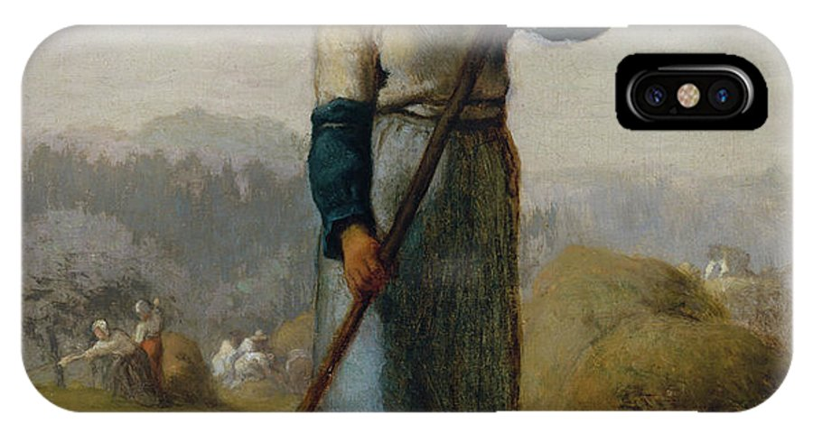 Barbizon School IPhone X Case featuring the painting Woman With A Rake by Jean-Francois Millet