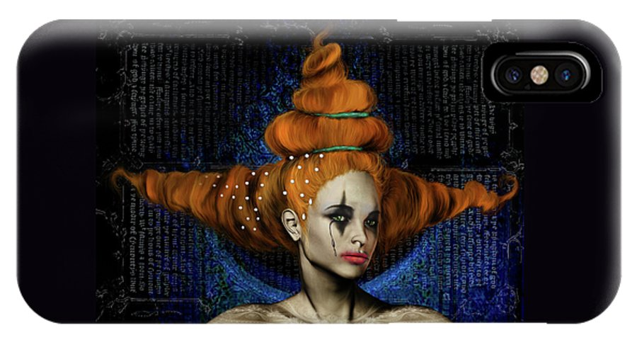 Woman Hair Gothic Dark Faces Eyes IPhone X Case featuring the digital art Woman with big hair by Veronica Jackson