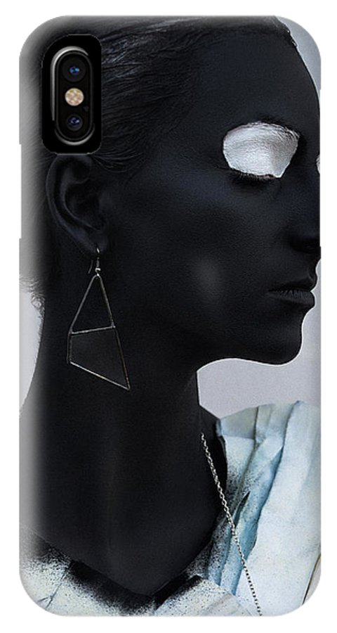 Black IPhone X Case featuring the photograph Woman With Black Boby Paint In Paper Dress by Veronica Azaryan